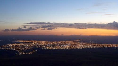 El Alto from 5300 metres near Chacaltaya (Sajama on the horizon)