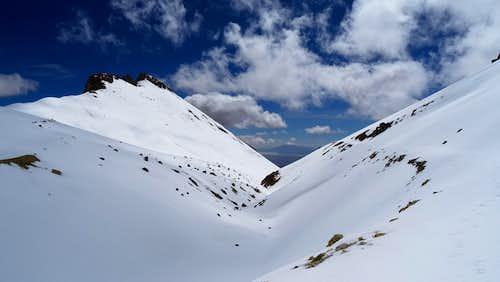 Alto Toroni ascending, looking back