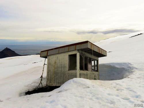 Old ski booth on Snæfellsjökull