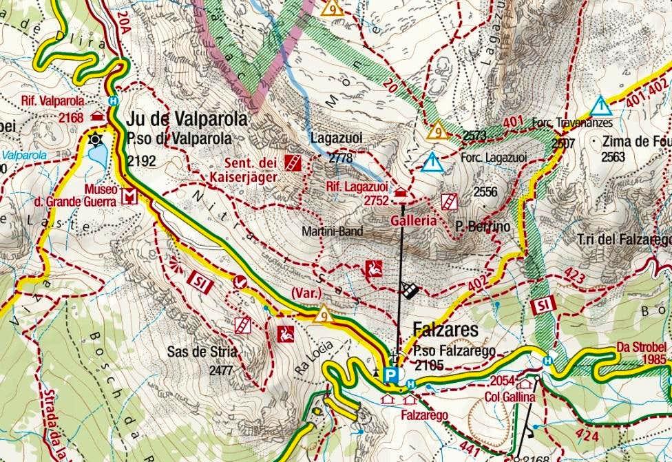 Lagazuoi Piccolo Route Map