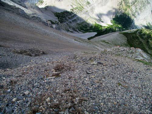 descending north slopes scree