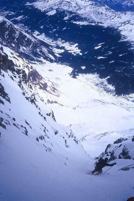 start of ski descent in...