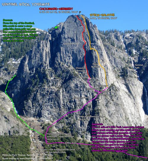 Route Overlay for Sentinel Rock Approach