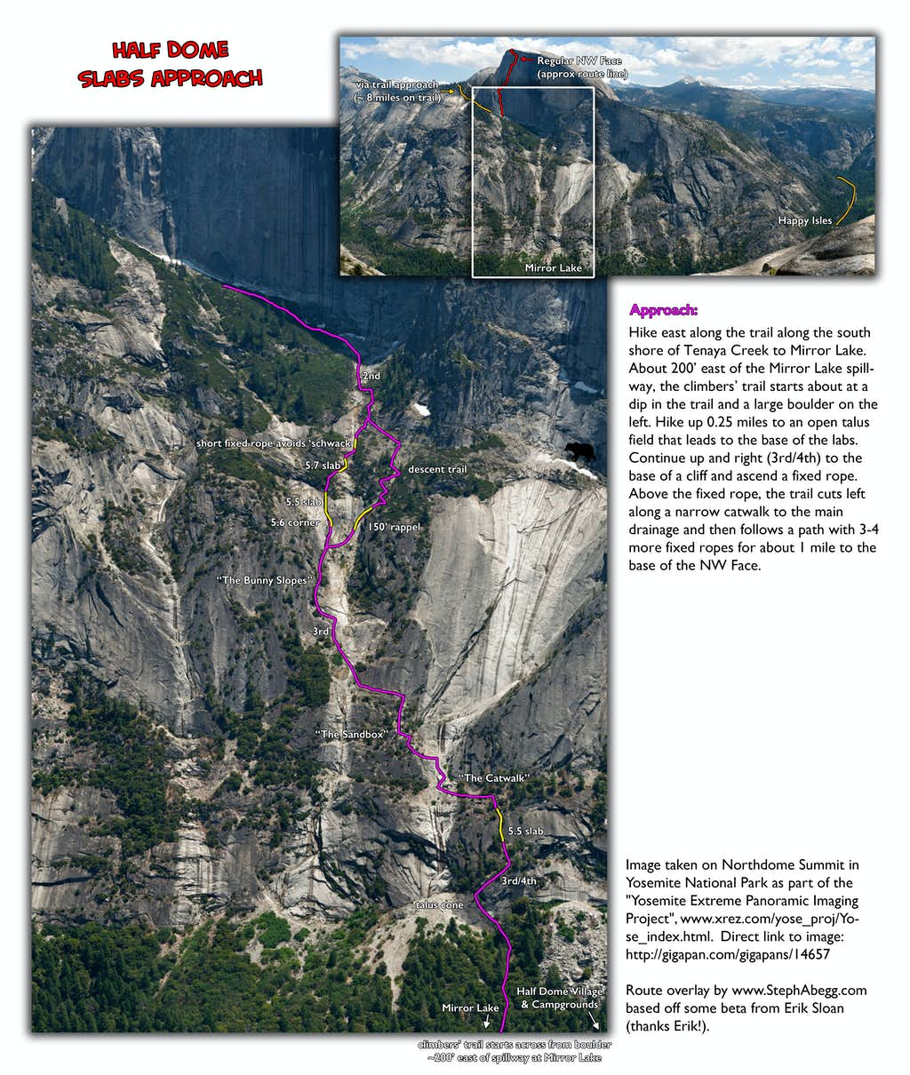 Route Overlay Slabs approach Half Dome
