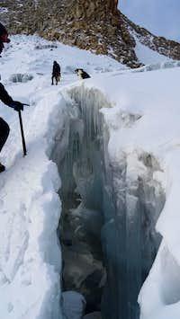 Bergschrund on Huayna Potosi