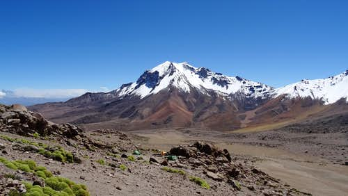 Cerro Nocarani with Chachani base camp in the foreground, North scree route