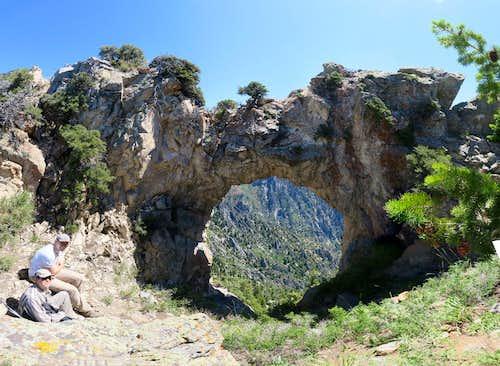The Devil's Eye Arch and Dharma Peak (aka Willow Canyon Peak)