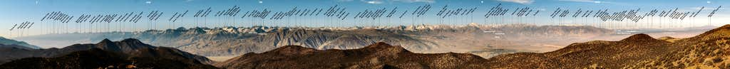 Labeled 130-Mile Panorama of High Sierra Crest from Sierra View