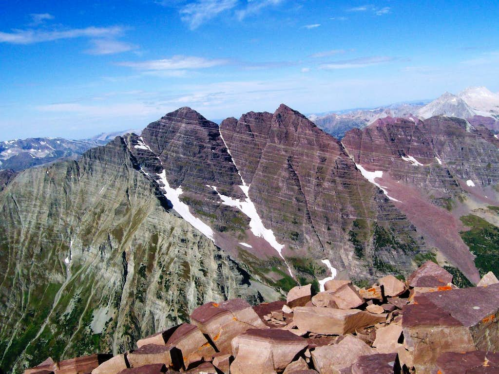 Maroon Bells from Pyramid Peak Summit