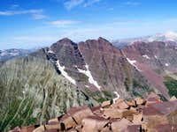 Maroon Bells from Pyramid Peak Summit