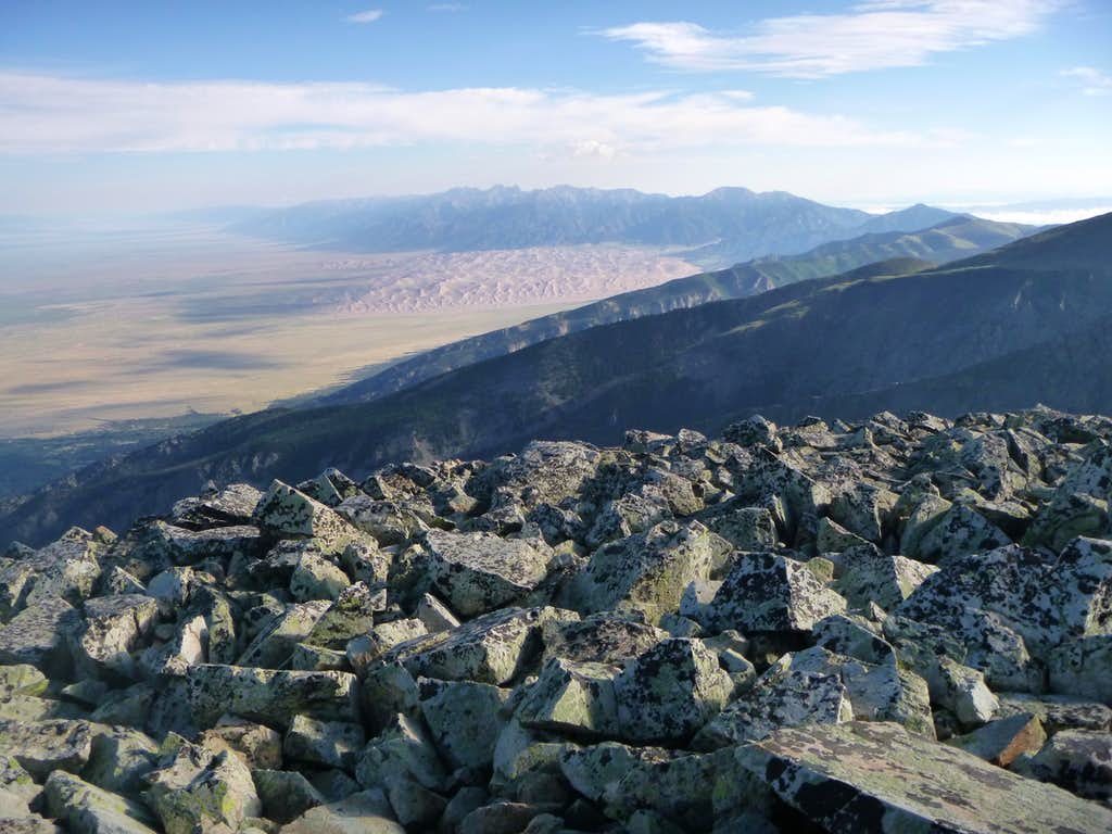 View of Great Sand Dunes National Park from Twin Peaks summit.