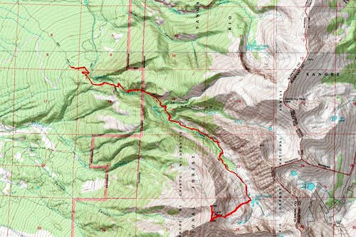 Map of Twin Peaks with Route to Summit Noted