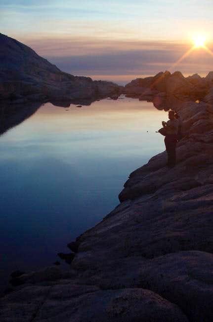 Sunrise in lake near Trail...