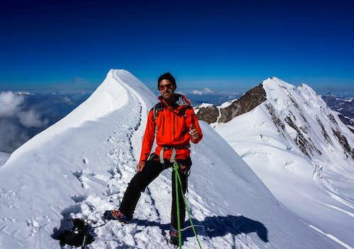 Me on the summit ridge of  Parrotspitze (14540 ft /4432m )