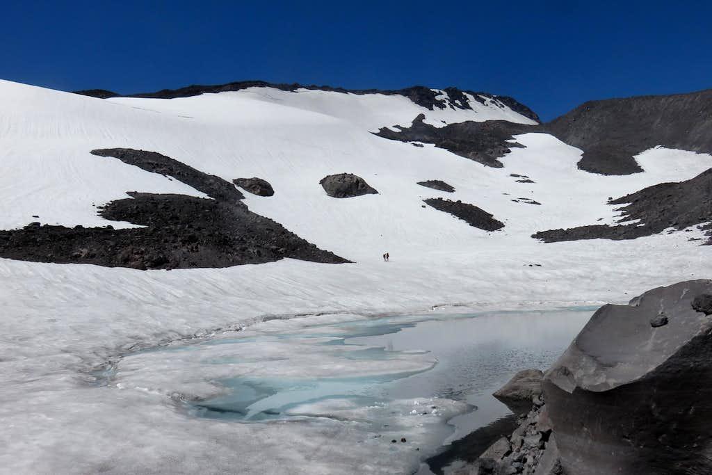 Looking past Gotchen Glacier towards pass heading eastward