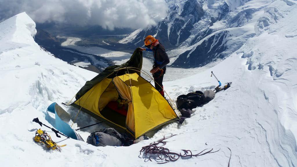 Camp on top of 30th anniversary of Uzbek Republic Peak (5700m)