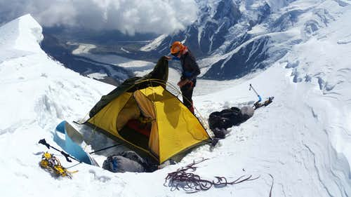 Camp on top of 30th anniversary of Uzbek Republic Peak (5700m)