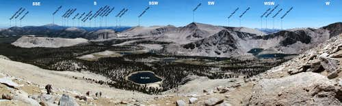 Labeled Panorama of the Cottonwood Lakes Basin from Woollyback