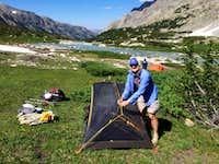 Idaho Terri Setting Up High Base Camp