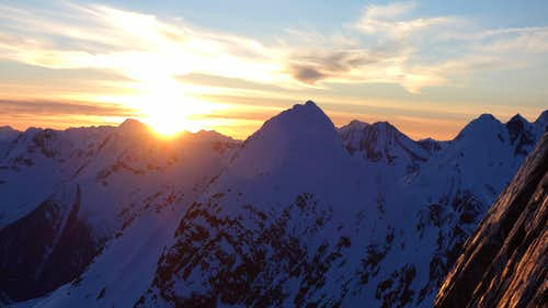 Sunset on the rappel route