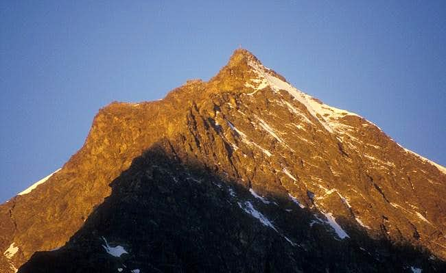 close-up of the summit of...