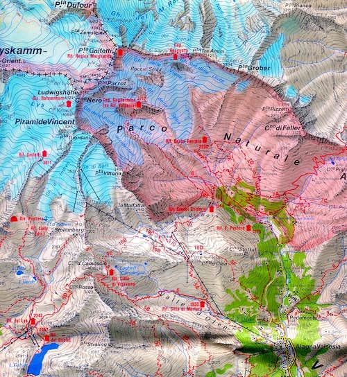 Punta Gnifetti map