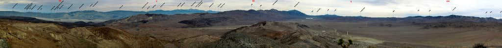 Labeled 235 Deg. SE Panorama from Ophir Mtn