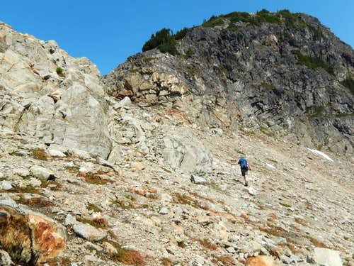 Climbing to the SW Col