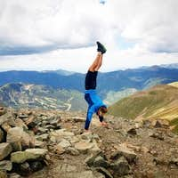 Wheeler Peak Handstand on the summit