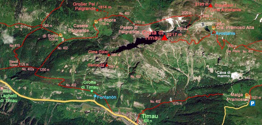 Creta di Timau map
