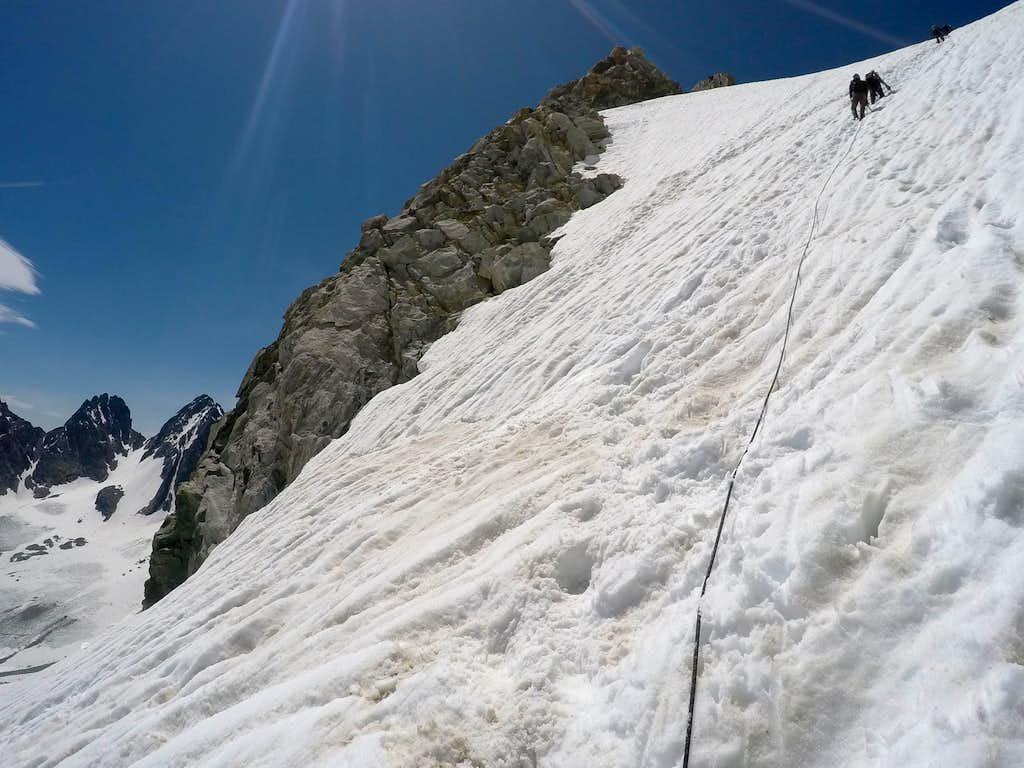 Climbing the upper Gooseneck Glacier above the schrund