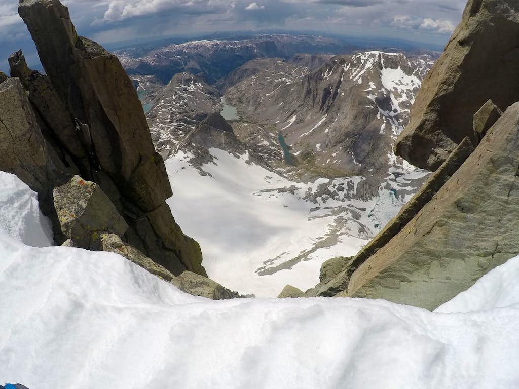Looking down the west face
