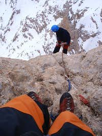 Abseiling.