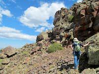 Traversing below the east side of the summit ridge