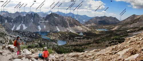 Labeled SWbW Panorama from Kearsarge Pass