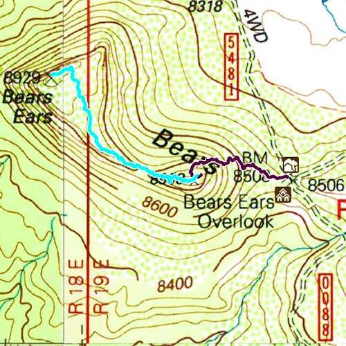 Topo Trail Map Bears Ears West