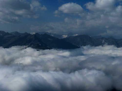 Zillertal Alps above clouds