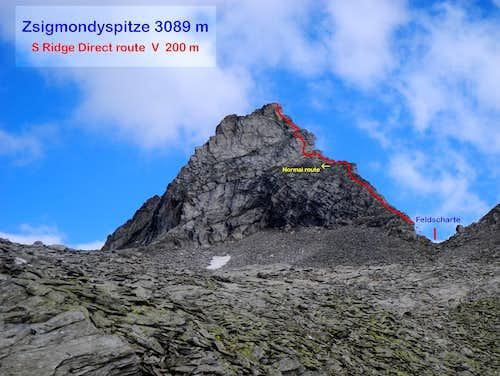 Zsigmondyspitze S ridge direct topo