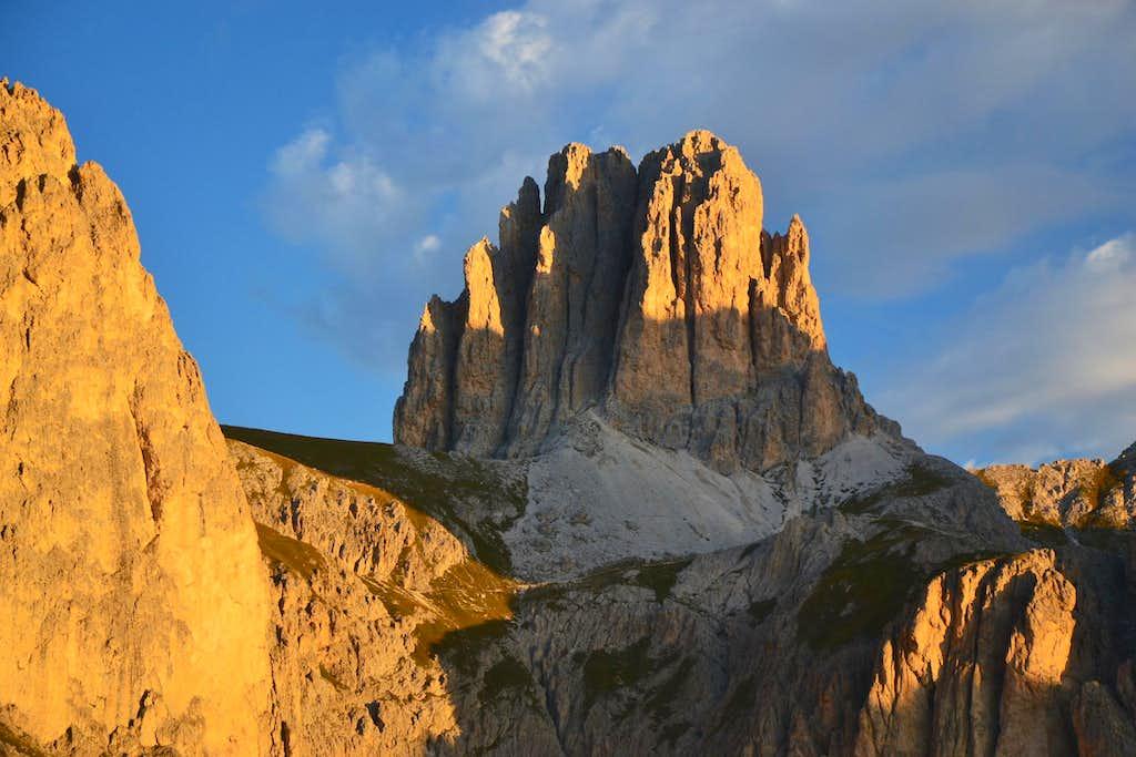 Sforcella or Tscheiner Spitze (2810 m) in sunrise light