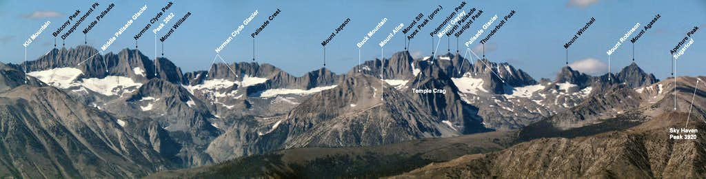 Labeled Palisades and Glaciers above Big Pine