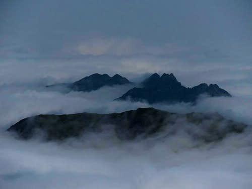 Kitzbuheler Alpen in sea of clouds