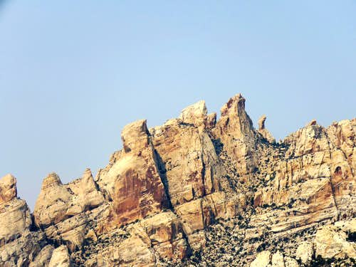 Zoomed view of South Split Mountain pinnacles