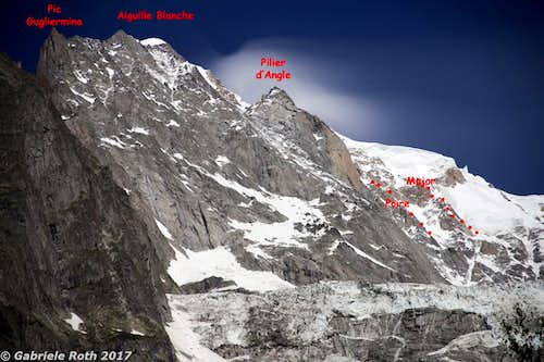 the Brenva wall from the valley