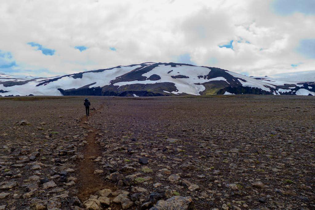 stony plateau before Fimmvörðuháls