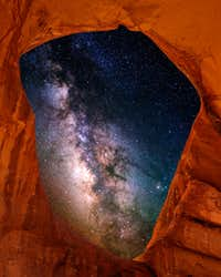 Milky Way core and Spiderweb arch