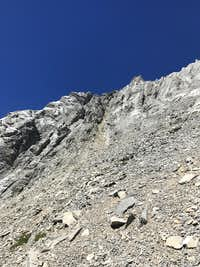 Base of ascent gully