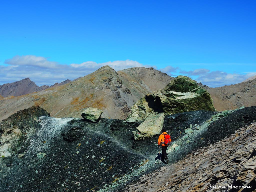 Black rocks near Colle di St. Veran on the way to Rocca Bianca