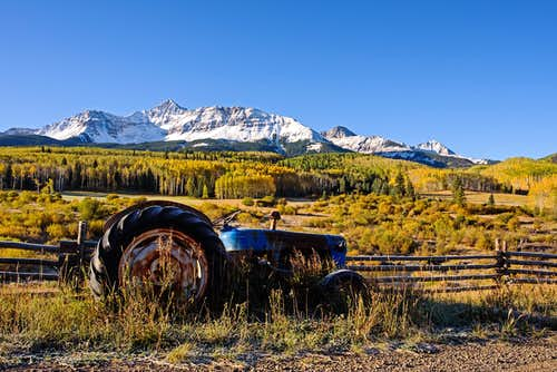 Wilson Peak and a Tractor
