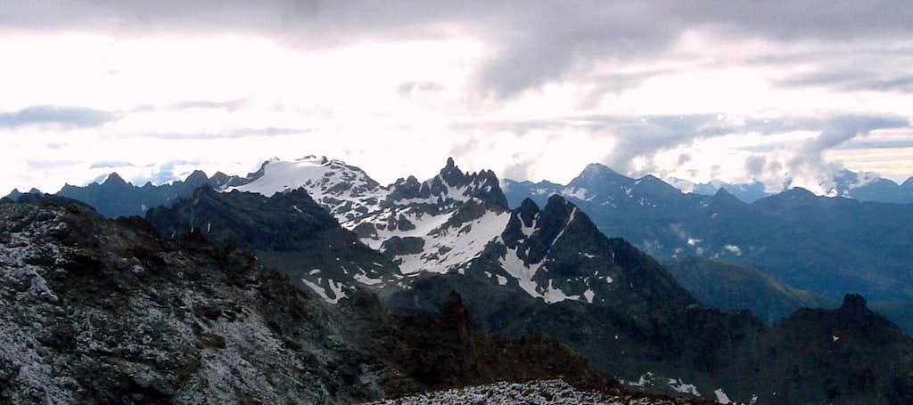 Dome de Cian and Aiguille de Cian seen from Becca di Luseney