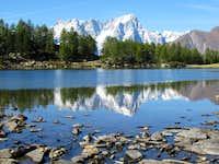 Grandes Jorasses mirroring in Arpy Lake